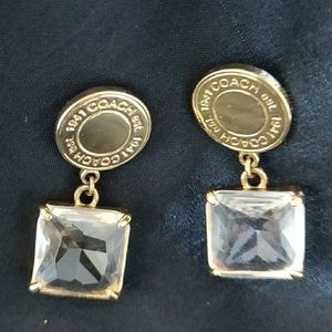 Coach Large Square Cut Dangling Crystal Earrings